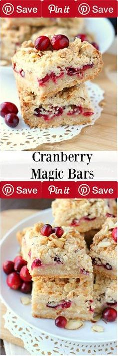#MUST_SAVE Cranberry Magic Bars 1 hr to make makes 12 - Ingredients Vegetarian Produce 1 cup Cranberries fresh Refrigerated 1 Egg Baking & Spices 3 cups All-purpose flour 1 tsp Baking powder  tsp Cinnamon 1 cup Sugar  cups White chocolate chips Nuts & Seeds  cup Almond  cup Coconut Dairy 1 cup Butter  cup Condensed milk sweetened