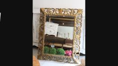 19c French mirror with carved frame and bevelled glass