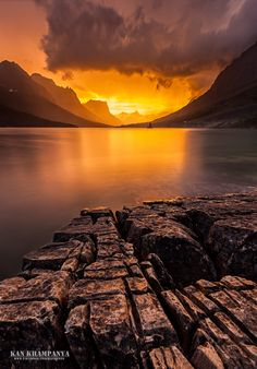 Burning sky at St. Mary Lake, Glacier National Park, Montana