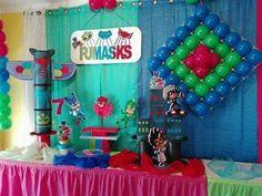 Festa do 7º aniversário da Ana Catarina, cujo tema foi os Pj Masks.  Reserve já a sua festa antes que esgote...