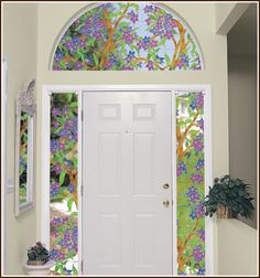 Biscayne Decorative Stained Glass on Sidelights and Arch Window