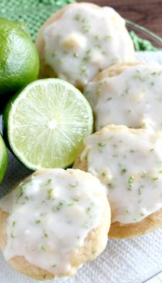 Key Lime Cookies – Dessert Now, Dinner Later! Key Lime Cookies Recipe ~ soft and delicious with a hint of lime Lime Cookie Recipes, Lime Recipes, Cookie Desserts, Just Desserts, Sweet Recipes, Delicious Desserts, Dessert Recipes, Yummy Food, Lime Desserts