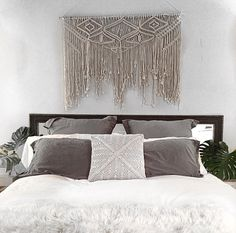 Perfect For Hanging Above Bed. **Please Note The Color Of The Wall Hanging  Is An Off White, Natural Unbleached Cotton.