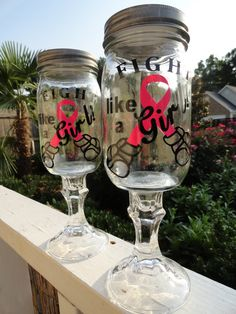Fight Like a Girl  Redneck Wine Glass Set of 2 by VinylChatter, $20.00