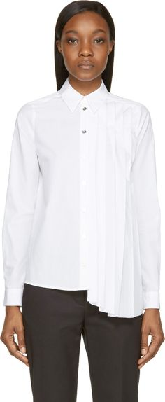 MM6 Maison Martin Margiela White Pleated Panel Shirt