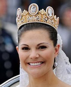 Sweden's Princess Victoria wore Josephine's Cameo Tiara at her wedding.  The pearl-covered diadem is heightened by seven cameos, depicting mythological figures. Today it has become the traditional bridal hair ornament in the House of Bernadotte, with Victoria's mother Queen Silvia, wearing it on her own wedding day on June 19, 1976.