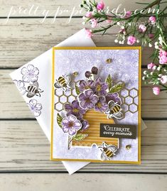 Floral Honey Bee Celebrate or Birthday Card made using the Stampin\' Up! Honey Bee Bundle and Forever Blossoms Bundle; created by Peggy Noe of Pretty Paper Cards Mary Fish, Stampin Pretty, Bee Cards, Pretty Cards, Paper Cards, Stamping Up, Stampin Up Cards, Cardmaking, Your Cards