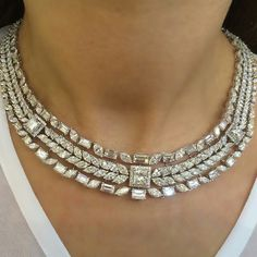 Diamond necklace by Maria Gaspari #Bjc #Jewelleryarabia