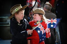 Children celebrating ANZAC Day. How will you be celebrating? Visit www.oneflare.com.au/blog for #AnzacDay ideas!