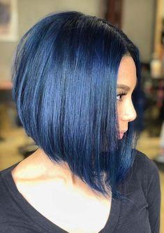 33 Shiny Blue Black Bob Hair Looks for Women 2018