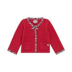 Cardigan rouge manches longues Geghelda - Les vestes, cardigans et pulls - Fille - Layette (3-24 mois) | Sergent Major