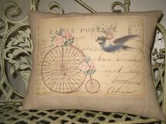 French Carte Postale Bird Pillow with French by sherrisboutique