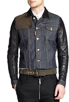 $2,785, Navy Denim Jacket: DSQUARED2 Cropped Denim Jacket. Sold by Saks Fifth Avenue. Click for more info: https://lookastic.com/men/shop_items/296816/redirect