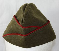 Vintage US Military Garrison Hat   Red Trim by ilovevintagestuff