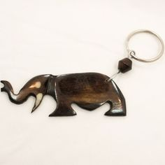 African Kenya Handmade Cow Bone Keychain Keyring Key Holder Elephant 655-56