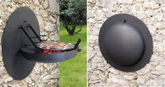 Wall Barbecue Grill consists of a steel firebowl that folds up, so that when it is closed it takes up limited space.