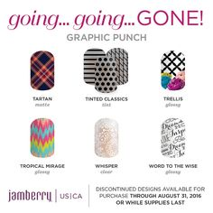 Get these designs/colors before they retire! They are available through August 31!! https://glamjamkh.jamberry.com/us/en/ #Jamberry #NailArt #DIYNails #GGG