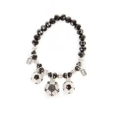 Silver Sports Ball Charm Beaded Bracelet ($50) ❤ liked on Polyvore featuring jewelry, bracelets, beaded silver jewellery, sports charms, silver jewelry, charm jewelry and sports jewelry