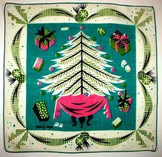 vintage Tammis Keefe Christmas hanky...love...
