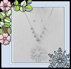 "Silver Snowflake Necklace Set 16-19"" Winter Wedding Bridal Party Jewelry Boxed"