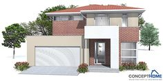 Small House plan in modern architecture with three bedrooms, small home design. Modern House Plan to Modern Family. Garage House Plans, New House Plans, Dream House Plans, Modern House Plans, Small House Plans, Modern Houses, Small Houses, Australian House Plans, Australian Homes