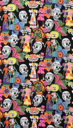 LAMINATED cotton fabric by the yard - Los Novios skeleton Day of the Dead (aka oilcloth coated vinyl fabric ) - De Leon Alexander Henry Cute Wallpapers, Wallpaper Backgrounds, Iphone Wallpaper, Skull Wallpaper, Pattern Wallpaper, Wallpaper Caveira, Cultures Du Monde, Mexican Pattern, Laminated Cotton Fabric