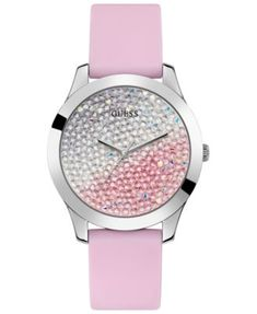 8ce104304 Women's Pink Silicone Strap Watch 42mm | macys.com Stainless Steel Watch,  Pink Ladies