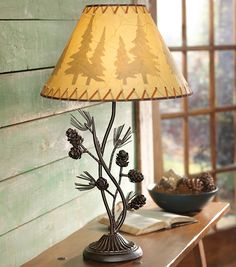 Black Forest Decor- Metal Pinecone Table Lamp