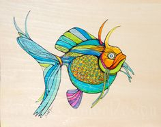 Fanciful Blue Green Fish Painting on Wood. $75.00, via Etsy.
