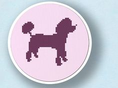Lovely Poodle Silhouette. Cross Stitch PDF Pattern by andwabisabi, $2.50