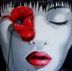 Vermelho   É a ausência  Da sua boca    Libertária  Imagem: Giogia Cordovani
