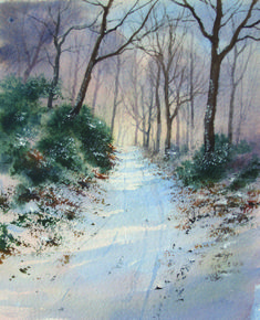 Depending on your color palette, a snow scene can have a frosty feel or a warm glow. In this quick tutorial, artist Geoff Kersey demonstrates how to paint woodland landscape using a winter palette. #winterlandscape #watercolorpainting