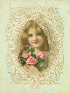 Vintage Printable - Girl with roses