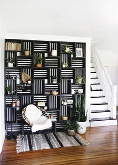 Home Decor Living Room DIY Crate Shelf Statement Wall Decor Living Room DIY Crate Shelf Statement Wall The Merrythought Interior Design Companies, Office Interior Design, Office Interiors, Interior Modern, Decoration Bedroom, Diy Home Decor, Room Decor, Diy Wall Decorations, Decoration Crafts