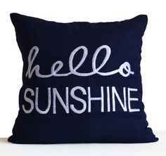 Hello Sunshine Pillow Cover Linen Pillowcase by AmoreBeaute