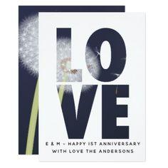 1st Wedding Anniversary Card - Modern Dandelion Bl - wedding invitations diy cyo special idea personalize card