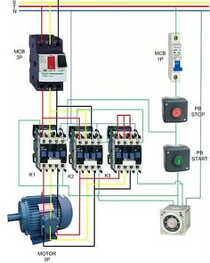 contactor wiring guide for 3 phase motor with circuit breaker rh pinterest com