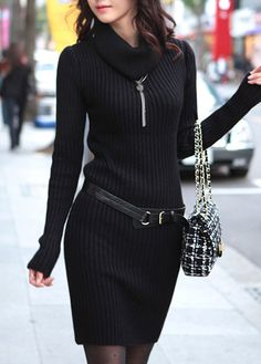 Autumn Essential Cowl Neck Long Sleeve Black Dress