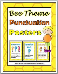 Punctuation Posters, Grammar Posters, Different Bees, Teacher Helper, Back To School Activities, Bee Theme, Reading Resources, New School Year, Classroom Themes
