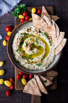 Authentic Baba Ganoush Recipe is part of Babaganoush recipe - Simple, Authentic Baba Ganoush recipe made with smoky grilled eggplant, tahini, garlic and lemon A flavorful, healthy Middle Eastern Eggplant Dip! Fingers Food, Vegetarian Recipes, Cooking Recipes, Full Fat Yogurt, Snacks Saludables, Grilled Eggplant, Lebanese Recipes, Middle Eastern Recipes, Healthy Recipes