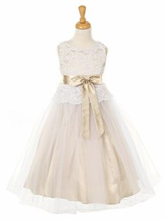 I usually hate mini-brides but I love this.    Champagne Lace Bodice w/ Double Tulle Over Charmeuse