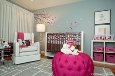This nursery has great hot pink accents.  #hotpink #ottoman #cherryblossom #nursery