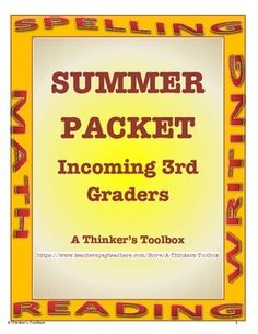 "Summer Packet - Incoming 3rd Graders by A Thinker's Toolbox. This Summer REVIEW Packet requires NO PREP and can help your 2nd graders prepare for 3rd grade and reduce any ""summer slide""."