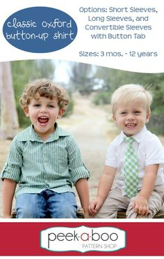 Oxford Classic Button Up (Short or Long sleeve) 3months to 12 years from Peek-A-Boo Patterns