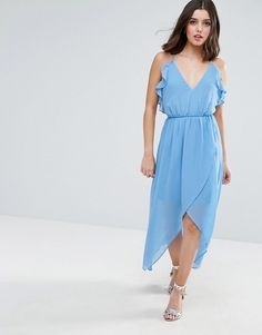Asos - Petite - True Decadence Petite Wrap Cami Dress With Ruffle in soft blue   mid length lining, high rise waist, v-neck, high low hem, wrap design skirt, low scoop back.