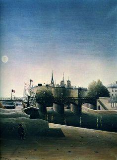 Henri Rousseau - Vue de l'île Saint-Louis prise du port Saint-Nicolas, detail (1888)