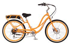 Pedego Comfort Cruiser Step Thru Orange with White Wall Tires America's most beloved electric bike - with new improvements that make it even more lovable. Electric Beach, Best Electric Bikes, Electric Bicycle, Pink Rims, Bicycles For Sale, Black Balloons, Bike Frame, Cool Bikes, Amigurumi