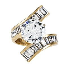 Diamond Solitaire Ring, in 14kt Yellow and White Gold