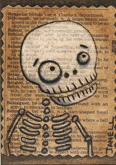 ACEO collage mixed media Halloween Skeleton Skelly signed original art