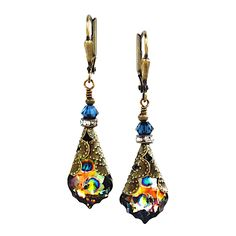 Peacock Baroque w/Swarovski Elements Crystal Dangle Earrings #HisJewelsCreationsDesign #DropDangle